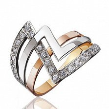 Золотое кольцо с фианитами Зигзаг удачи