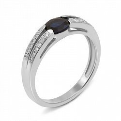 Кольцо из белого золота с сапфиром и бриллиантами 000134394
