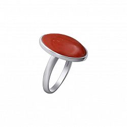 Серебряное кольцо Звездная ночь с яшмой и родием