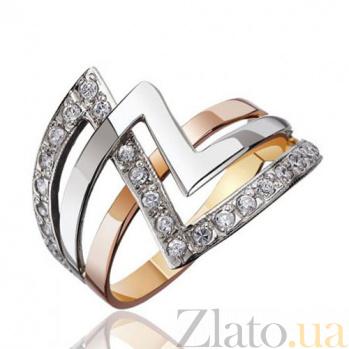 Золотое кольцо с фианитами Зигзаг удачи EDM--КД0314