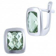 Серебряные серьги Ингрет с зеленым аметистом