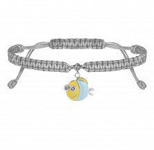 Детский плетеный браслет Рыба с глазами в сером цвете с эмалью и фианитом, 10х20см