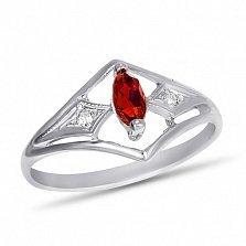Золотое кольцо Сабрина в белом цвете с узорной шинкой, синтезированным рубином и фианитами