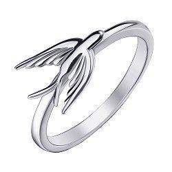 Серебряное кольцо Легкокрылая ласточка с фигуркой птицы на шинке