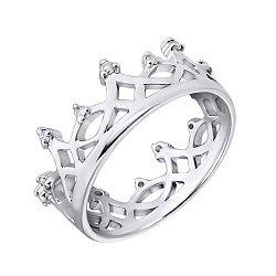 Серебряное кольцо-корона с бриллиантами и родированием 000022203