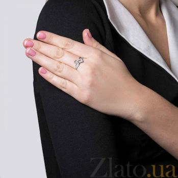 Серебряное кольцо с фианитами Сердца двух 000026979