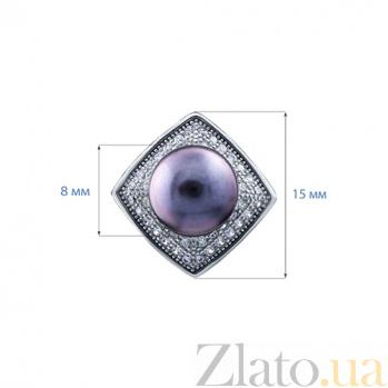 Серебряные серьги с черным жемчугом Неона AQA--E00731PB