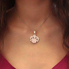 Серебряный кулон Магнолия с жемчугом, фианитами и розовой эмалью