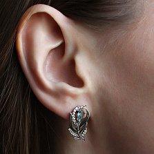 Серебряные серьги Волшебное перышко с голубыми и белыми фианитами