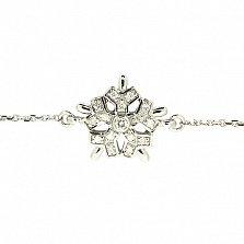 Золотой браслет Снежинка в белом цвете с бриллиантами