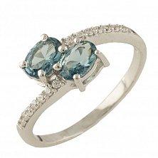 Серебряное кольцо Иветта с топазом лондон и фианитами