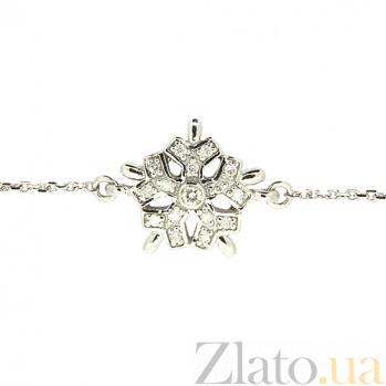 Золотой браслет Снежинка в белом цвете с бриллиантами ZMX--BCD-00205\1w_K