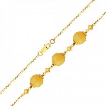 Позолоченный серебряный браслет с бусинами лимонного янтаря и геометрическими элементами 000118934