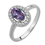 Серебряное кольцо Лия с александритом синтезированным и фианитами