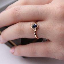 Кольцо в красном золоте Вилора с сапфиром и бриллиантами