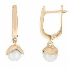 Золотые серьги-подвески Восхождение с белым жемчугом