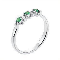 Кольцо из белого золота с изумрудами и бриллиантами 000134398