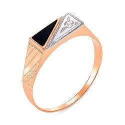 Золотой перстень-печатка в комбинированном цвете с черным ониксом и цирконием 000104116