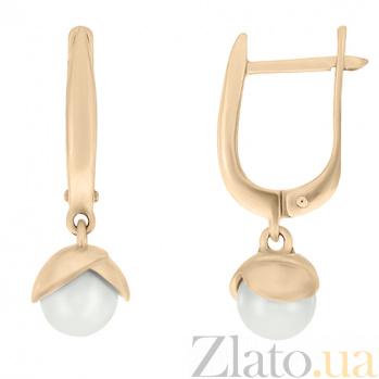 Золотые серьги-подвески Восхождение с белым жемчугом 000023049