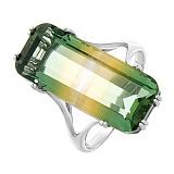 Серебряное кольцо Октавия с желто-зеленым кварцем