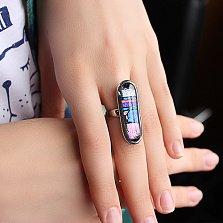 Серебряное кольцо с имитацией опала Гравюра
