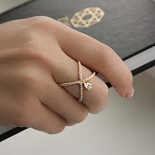 Кольцо из красного золота Диана с цирконием