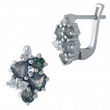 Серебряные серьги Павлина с топазами мистик и фианитами
