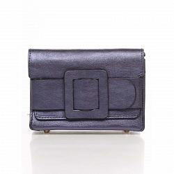 Кожаный клатч Genuine Leather 1812 темно-синего цвета с декоративной пряжкой и плечевым ремнем 00009