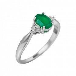 Серебряное кольцо Мирра с зеленым агатом и фианитами