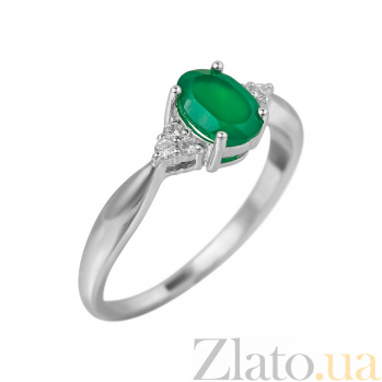 Серебряное кольцо Мирра с зеленым агатом и фианитами 000081569