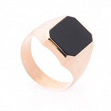 Перстень-печатка из красного золота Мерлин с черным ониксом