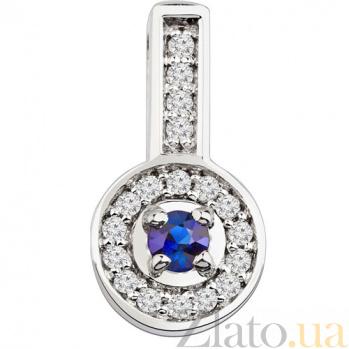 Золотой подвес с сапфиром и бриллиантами Венецианка KBL--П070/бел/сапф