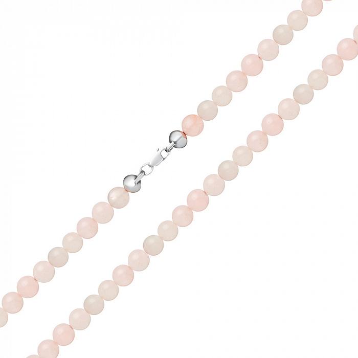 Бусы Сюзанна с розовым кварцем на серебряной застежке 000079867