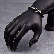 Кожаный браслет Орлы с серебряными вставками и чернением