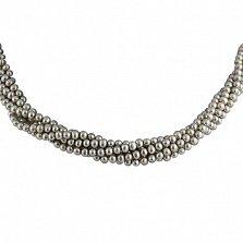 Ожерелье Таура из 5 нитей серого жемчуга с серебряной застежкой