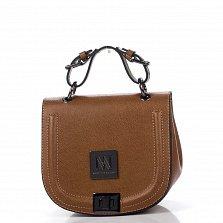 Кожаный клатч Genuine Leather 7732 темно-коньячного цвета с короткой ручкой и механическим замком