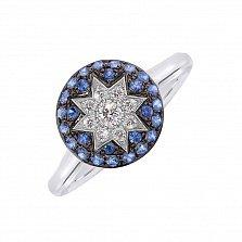 Золотое кольцо Счастливая звезда с сапфирами и бриллиантами