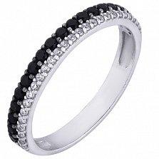 Серебряное кольцо Нива с черными и белыми фианитами