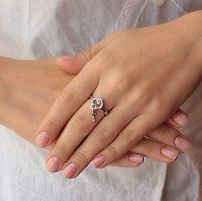 Серебряное кольцо Романтичный замочек с позолотой, фианитами и подвеской-ключиком