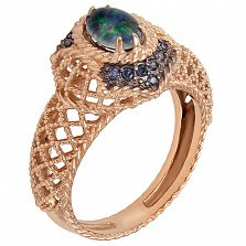Золотое кольцо Клариче с опалом и цирконием