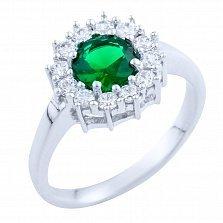 Серебряное кольцо Марика с синтезированным изумрудом и фианитами