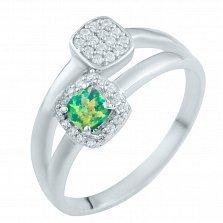Серебряное кольцо Жизелия с зеленым опалом и фианитами