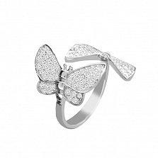Серебряное кольцо Легкокрылые бабочки с прозрачными кристаллами циркония