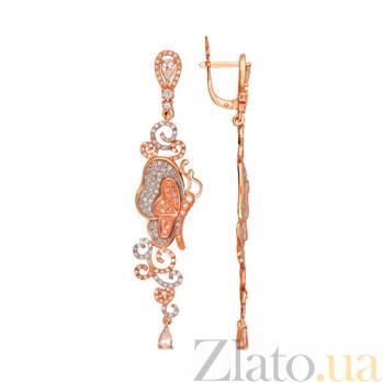 Серьги из красного золота с фианитами Джульетта VLT--ТТТ2491