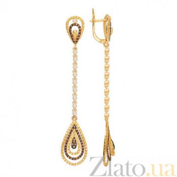 Серьги-подвески из желтого золота с коньячным и белым цирконием Фабьен VLT--ТТТ2366