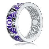 Мужское обручальное кольцо из белого золота с эмалью Талисман: Души