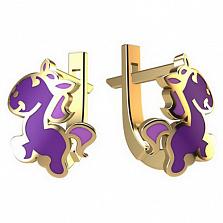 Золотые серьги Лошадка с фиолетовой эмалью