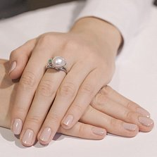 Серебряное кольцо Эврика с жемчугом, изумрудом и фианитами