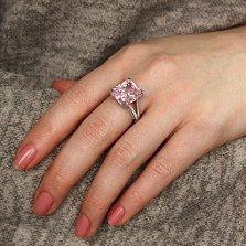 Серебряное кольцо Королевская камея с розовым и белым цирконием