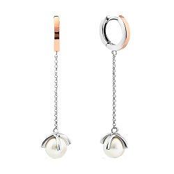 Серебряные родированные серьги-подвески с золотыми накладками, жемчугом и фианитами в крапанах 00011